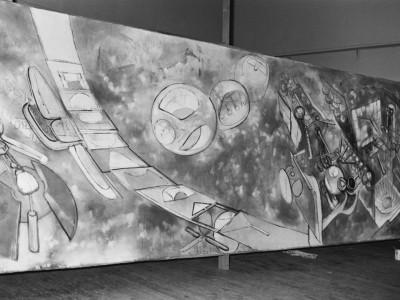 """Cuadro """"Vivir enfrentando las flechas"""" de Roberto Matta, obra donada a la Universidad Técnica del Estado en 1961"""