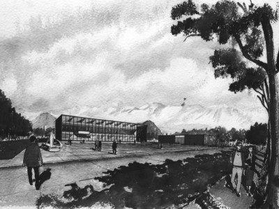 Croquis anteproyecto Unidad Universitaria de la oficina BVCH, 1957. En el dibujo se aprecia lo que sería el futuro edificio de Casa Central