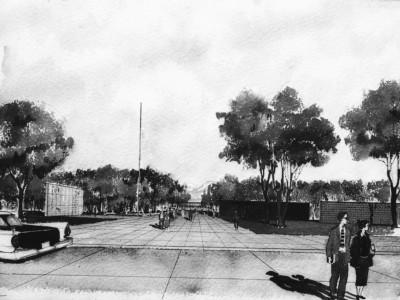 Croquis anteproyecto Unidad Universitaria de la oficina BVCH,1957. En el dibujo se aprecia el sector destinado a salas de clases y espacios públicos