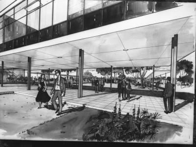 Croquis anteproyecto Unidad Universitaria de la oficina BVCH, 1957. En el dibujo se aprecia lo que sería el futuro edificio Logias para la Escuela de Ingenieros y Técnicos Industriales