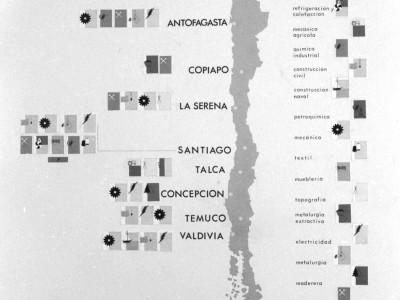 Mapa con sedes de la UTE en Chile, 1967