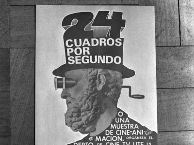 """Afiche de """"24 cuadros por segundo"""", muestra de cine animación organizada en 1974 por el Departamento de Cine y TV UTE."""