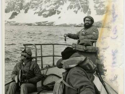 Rubén Soto y José Román durante grabación de documental en la Antártica.
