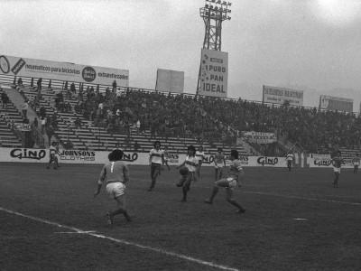 Enfrentamiento entre equipos de la UTE y Universidad Católica en final de torneo universitario militar, Estadio Santa Laura. Fecha desconocida.