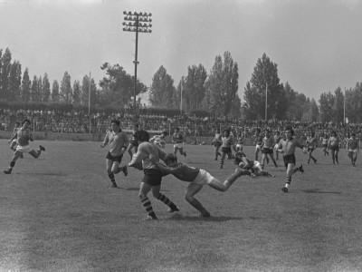Encuentro de rugby entre la Universidad Técnica del Estado y Universidad de Chile, 1976.