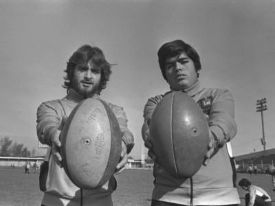 Integrantes del equipo de rugby en jornada de exhibición deportiva. Fecha desconocida.