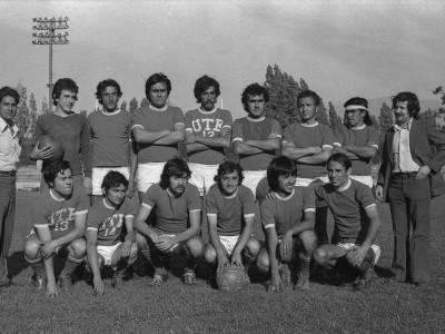 Plantel de fútbol masculino en Olimpiadas de Funcionarios UTE. 1965.