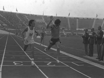 Carrera de metros planos masculino en el 1° Torneo Universitario de Atletismo, Trofeo Arturo Prat Chacón. Fecha desconocida.