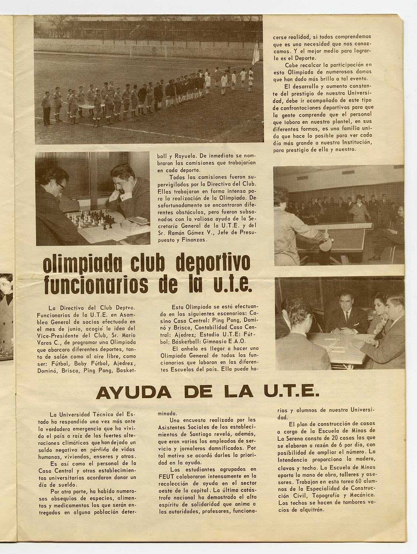 Olimpiadas Club Deportivo Funcionarios UTE – La Gaceta n°6 009, 1965.