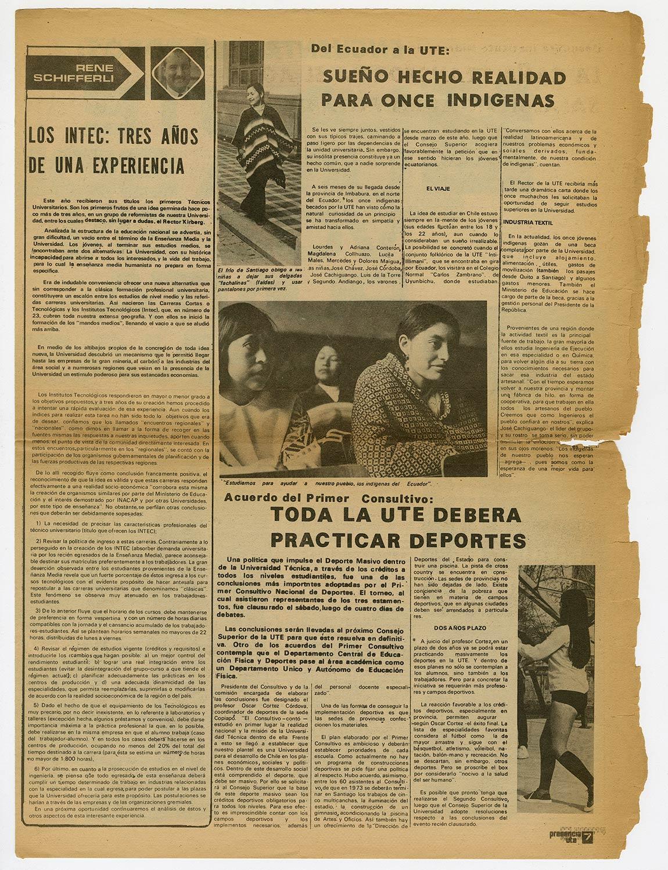 Presencia UTE, año 1 N°2, 1972. Consultivo Nacional de Deportes.