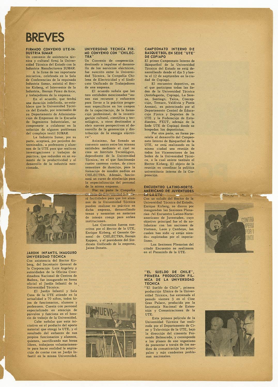 Unitécnica, año 2 N°11, 1971.  Campeonato interno de básquetbol en sede UTE Copiapó.