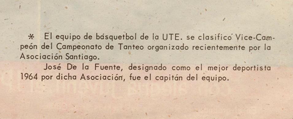 UTE vice-campeón del torneo de la Asociación de Básquetbol de Santiago.