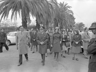 General Gustavo Leigh en visita a la sede UTE Talca. 1975.