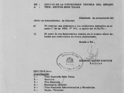Ordinario 3069, expulsión de funcionarios y profesores. 1975.