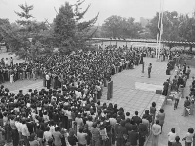 Ceremonia de bienvenida en semana mechona. 1976.