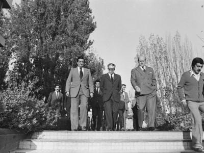 Visita del Ministro de Educación  Arturo Troncoso Daroch a la UTE. Fecha estimada 1976.
