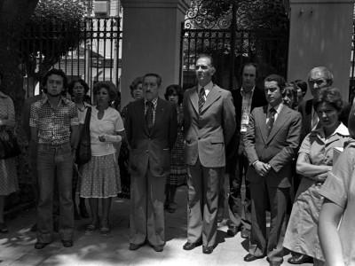 """Inauguración de Exposición """"Arte y Comunidad"""". Organizada por la UTE y la Secretaría de Relaciones Culturales de Gobierno. Fecha estimada 1978."""