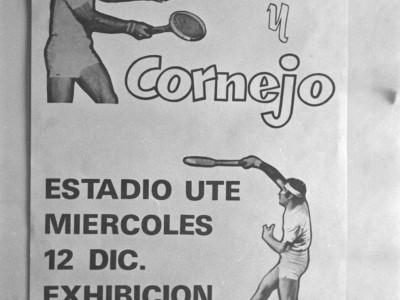 Afiche exhibición de los tenistas Jaime Fillol y Patricio Cornejo en la UTE. Fecha estimada 1974.