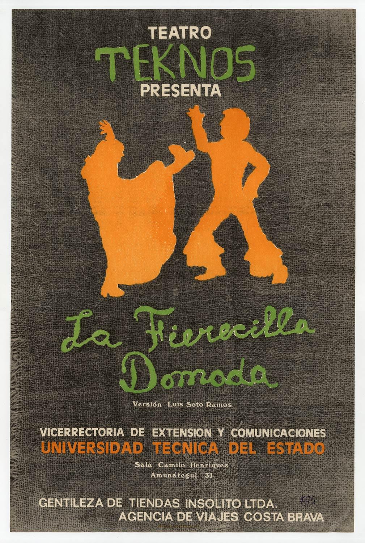 """Afiche de la obra """"La fierecilla domada"""". 1975. Donación de Juan Quezada."""