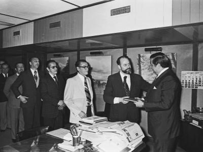 Cuarto aniversario del Coronel Eugenio Reyes Tastets como Rector delegado de la Universidad Técnica del Estado. 1977.