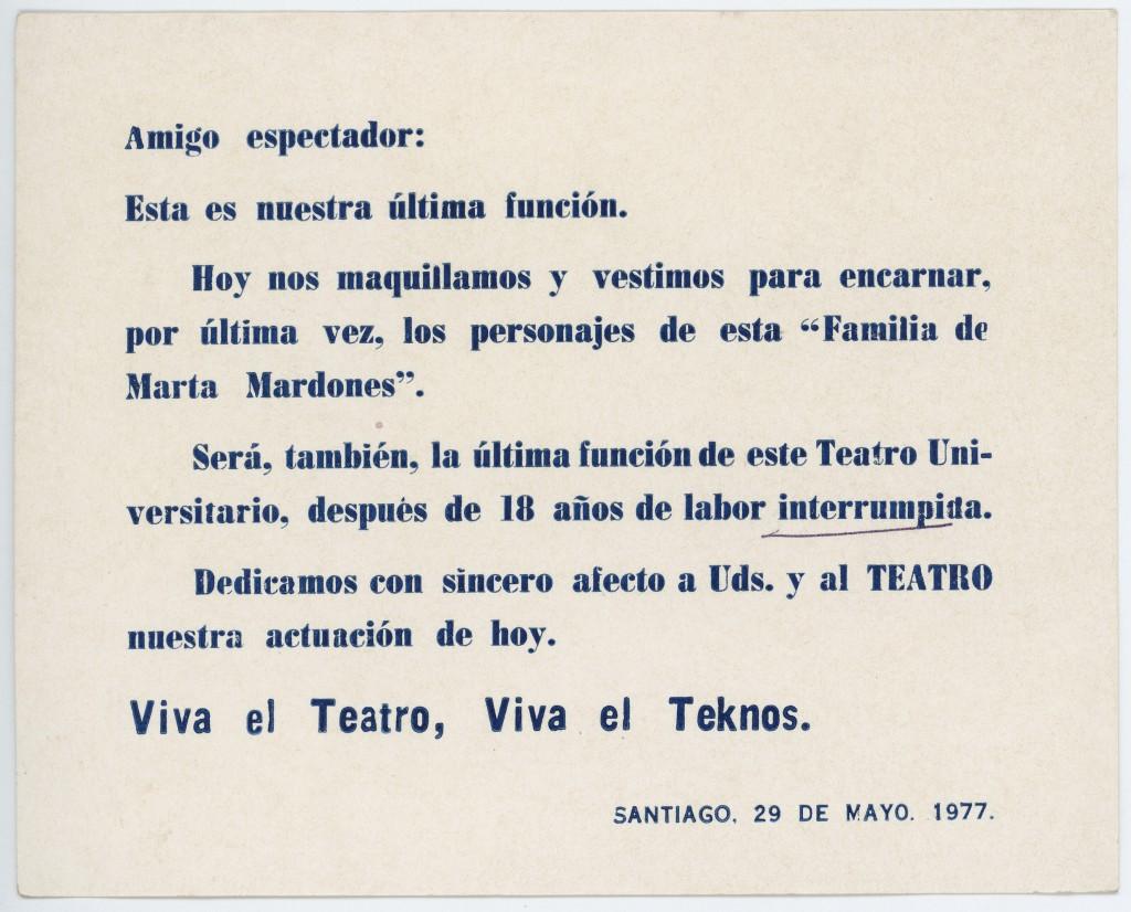 Tarjeta de despedida. Última función del Teatro Teknos. 1977. Donación de Juan Quezada.