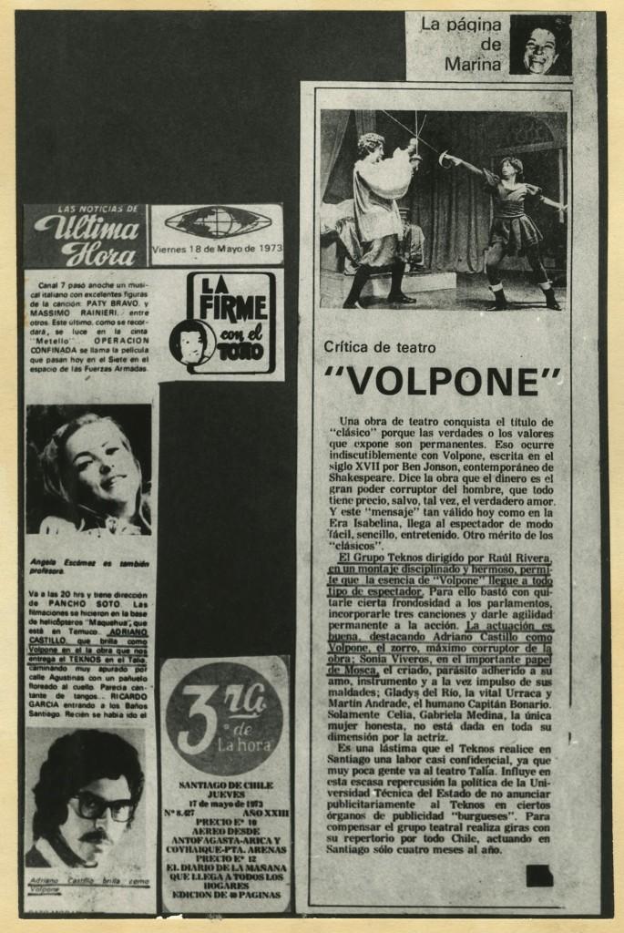 Artículos de prensa sobre Teatro Teknos (donación A. Castillo)