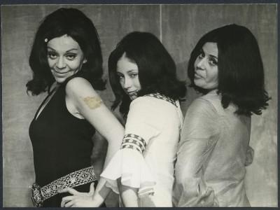 Gladys del Río, Sonia Viveros y Gabriela Medina, actrices del Teatro Teknos. Sin fecha. (Donación Adriano Castillo)
