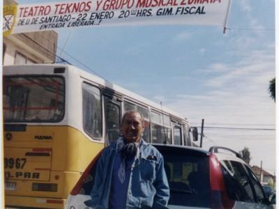 Juan Quezada, actor del Teatro Teknos. Santiago, 2003. (Donación Juan Quezada)