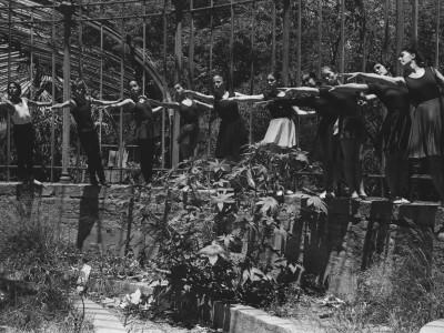 Sesión fotográfica del elenco del BAFUTE en Parque Quinta Normal.  Santiago, 1974.