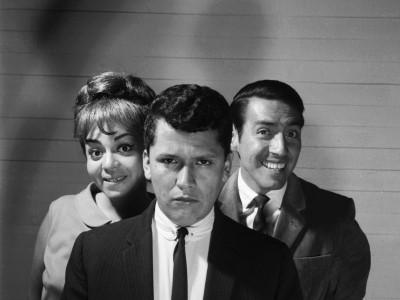 """Gladys del Río, Hugo González y Juan Quezada, actores de la obra """"Escape libre"""", del Teatro Teknos.1965."""