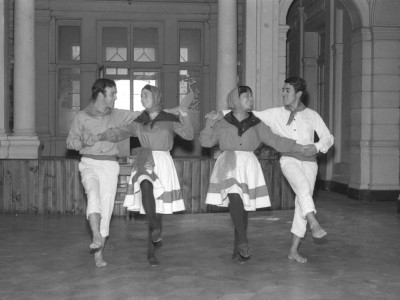 Trote Nortino. De izquierda a derecha: Jaime López, Fátima Traub, María Eugenia Sarce y Omar Solís. 1966.