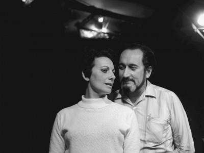 """Maité Fernández, actriz del Teknos y Luis Alarcón, actor invitado en obra """"Heroica de Buenos Aires"""". Sin fecha."""