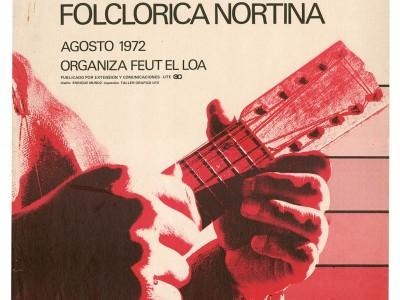 Afiche Festival de la Canción Folclórica Nortina, Taller Gráfico UTE, 1972.