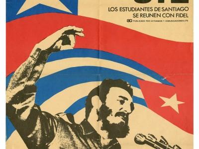 Afiche para la visita de Fidel Castro, Taller Gráfico UTE, 1971.