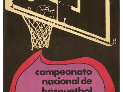 Afiche Campeonato Nacional de Básquetbol, Taller Gráfico UTE, 1971.