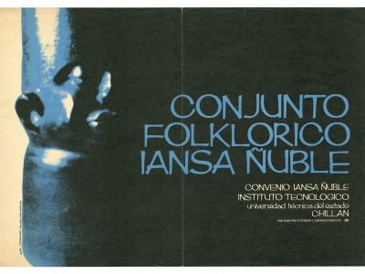 Afiche Conjunto Folclórico Iansa Ñuble, Instituto Tecnólogico UTE Chillán, Taller Gráfico UTE.