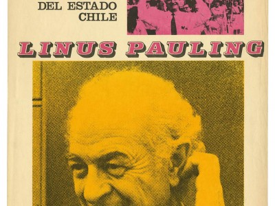 Afiche visita Linus Pauling, Taller Gráfico, 1970.