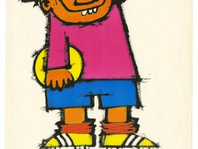 Afiche diseñado por Mario Navarro para Jornada de Educación para Dirigentes Deportivos Convenio CUT UTE, Taller Gráfico UTE.