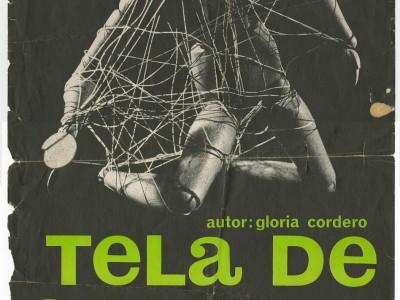 Afiche de la obra Tela de Cebolla del Teatro Nuevo Popular, Taller Gráfico UTE.
